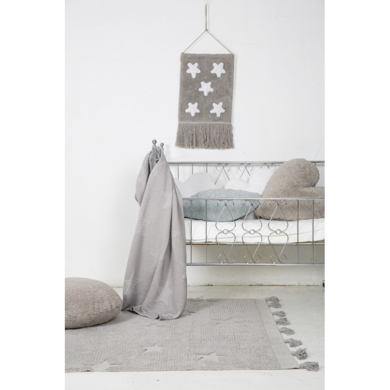 Alfombra Lavable Hippy Stars Gris Lorena Canals