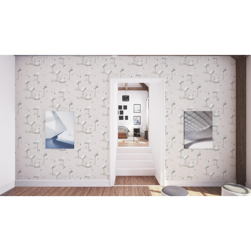 Flamingos Wallpaper natural Cole and Son Contemporary Restyled Collection 95/8046