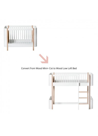 Conversion set for Mini+ low loft bed, white/oak Oliver Furniture