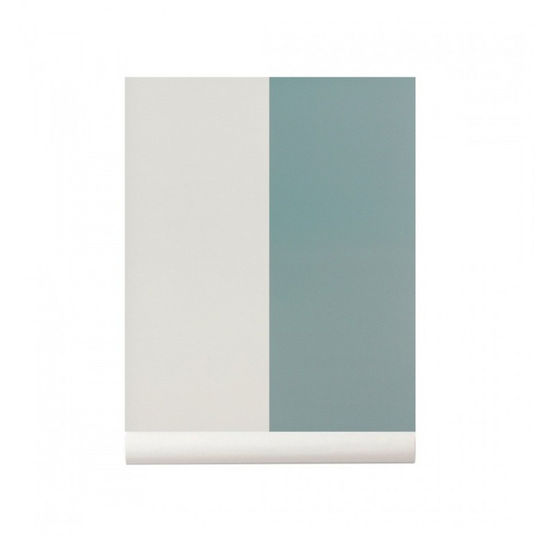 Thick Lines Wallpaper Dusty Blue / Off White Ferm Living