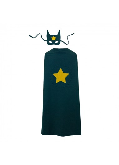 Super Hero Cape and Mask Teal Blue Numero 74