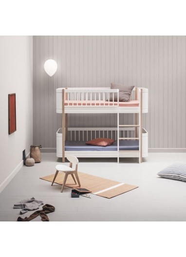 Cama Low Bunk Bed Wood Mini+ Blanca/Roble Oliver furniture