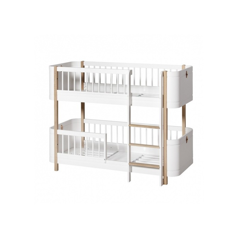 Wood Mini Low Bunk Bed White Oliver FURNITURE