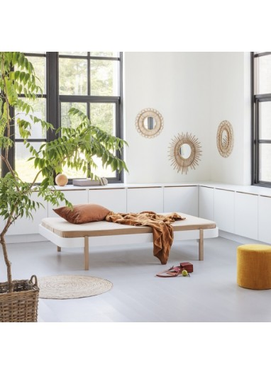 Cama Lounger Blanca/Roble Oliver furniture