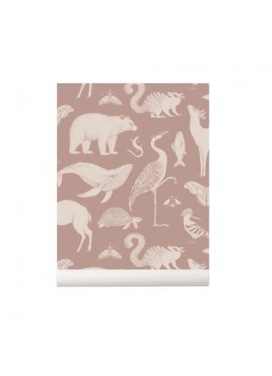 Animals Dusty Rose wallpaper Ferm Living
