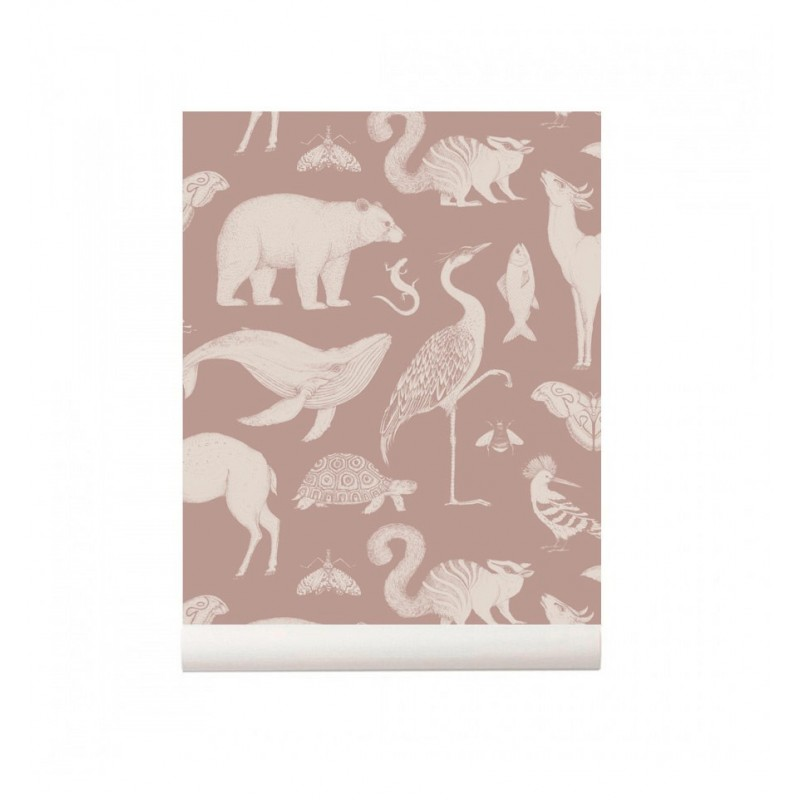 Papel pintado Animals Dusty Rose Ferm Living
