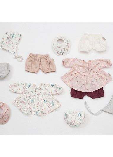 Doll's Clothing Set & Bonnet Pressed Leaves Rose Cam Cam Copenhagen