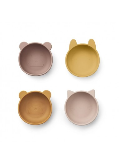Bowl de Silicona Pack de 4  Mix Rose Liewood