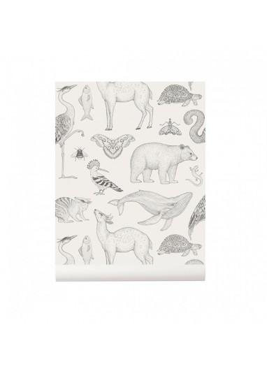 Animals off white wallpaper Ferm Living