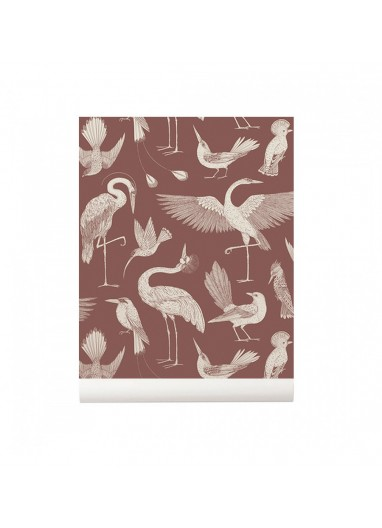 Birds Dusty Red wallpaper Ferm Living
