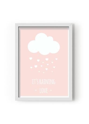 Lámina It's raining Love Rosa