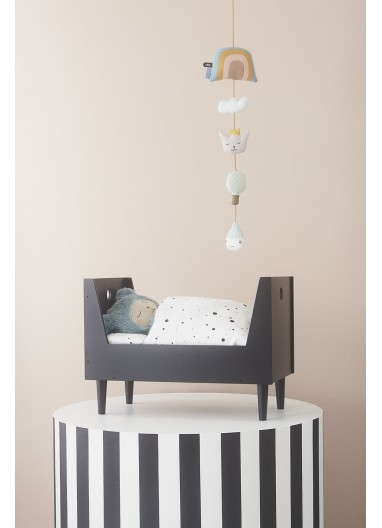 DOLL BED BEDDING - DOT - WHITE / BLACK OYOY