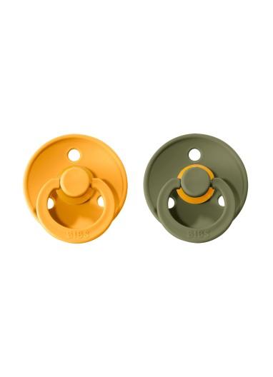 2 Pacifiers 0-6 BIBS Honey Bee / Olive