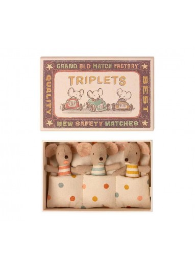 Baby mice triplets in matchbox Maileg
