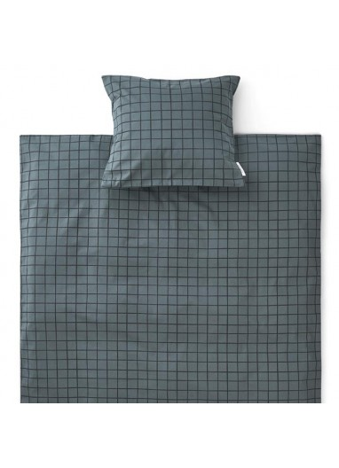 Carl Adult Bedding Check / Whale Blue Liewood