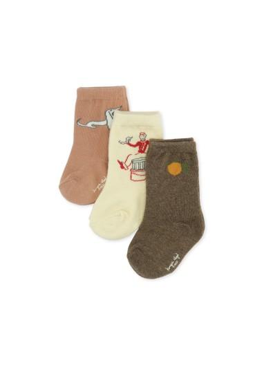 3 Pack Jacquard Socks Lemon/Bell Boy/Dog Konges Slojd